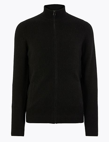 Pure Cashmere Zip Through Cardigan