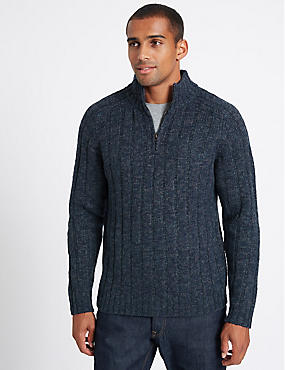 Textured Half Zipped Jumper, DENIM, catlanding