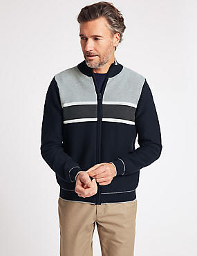 Cotton Rich Striped Zip Through Cardigan