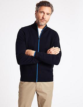Cotton Rich Textured Zip Through Cardigan