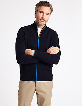 Cotton Rich Textured Zip Through Cardigan, NAVY, catlanding