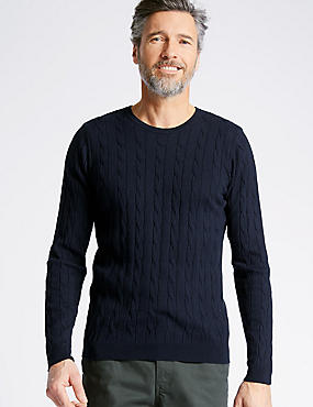 Cotton Cashmere Cable Knit Jumper, NAVY, catlanding