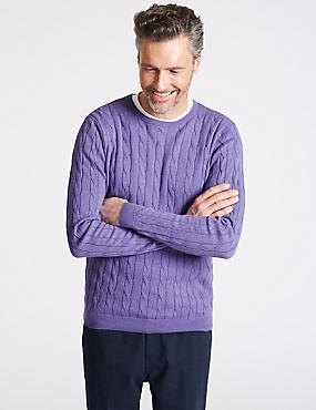 Cotton Cashmere Cable Knit Jumper, LILAC, catlanding