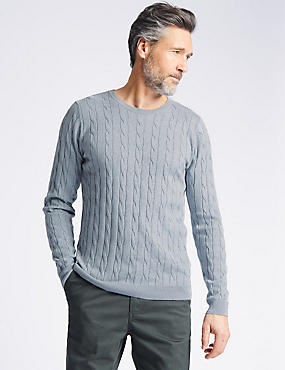 Cotton Cashmere Cable Knit Jumper, GREY MIX, catlanding