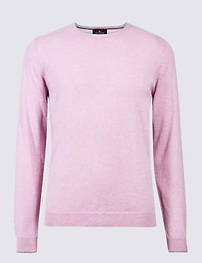 Cotton Cashmere Blend Jumper, PINK, catlanding
