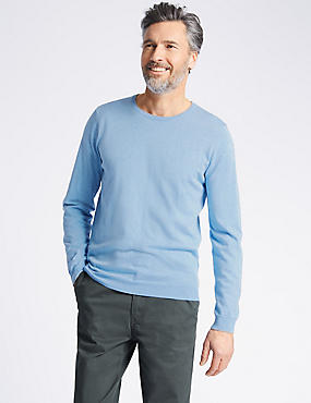 Cotton Cashmere Blend Jumper, LIGHT BLUE, catlanding