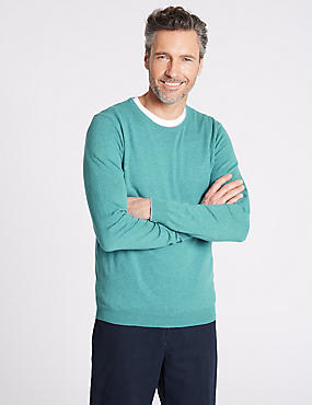 Cotton Cashmere Blend Jumper, SOFT TURQUOISE, catlanding