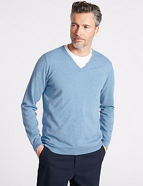 Cotton Cashmere Blend Jumper, LIGHT BLUE, catlanding
