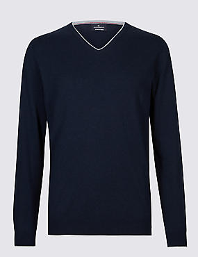 Cotton Cashmere Blend Jumper, NAVY MIX, catlanding