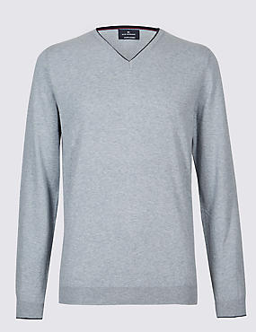 Cotton Cashmere Blend Jumper, GREY MIX, catlanding