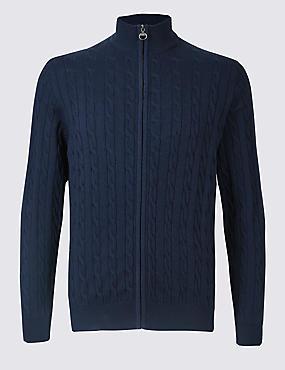 Cotton Rich Cable Knit Zip Through Cardigan, NAVY, catlanding