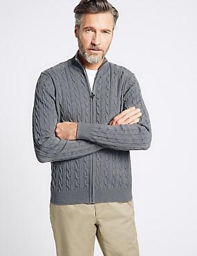 Cotton Rich Cable Knit Zip Through Cardigan, LIGHT GREY, catlanding
