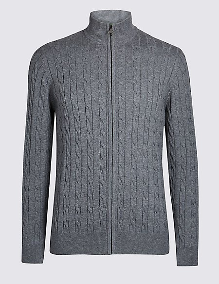 Cotton Cashmere Cable Knit Zip Through Cardigan