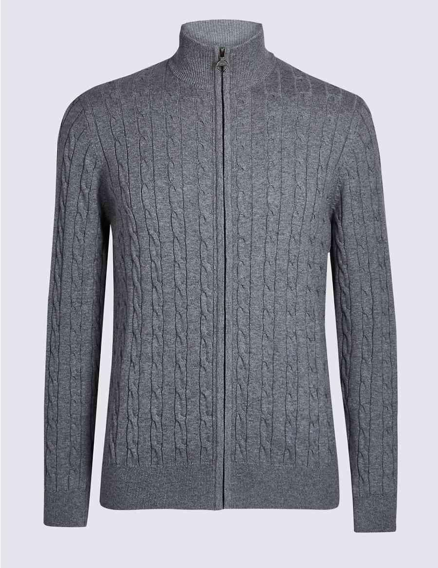 afbd341309 Cotton Cashmere Cable Knit Zip Through Cardigan