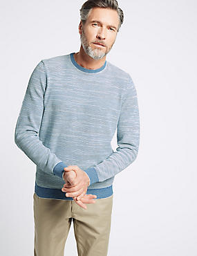 Pure Cotton Textured Slim Fit Jumpers