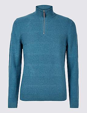 Cotton Rich Textured Half Zip Jumpers, MID BLUE, catlanding