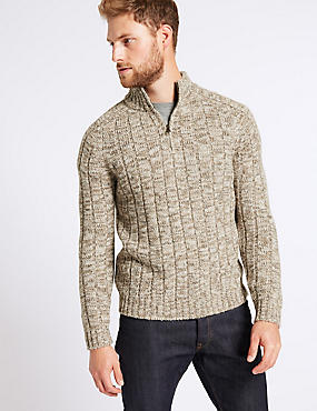 Textured Jumper with Wool, NEUTRAL, catlanding
