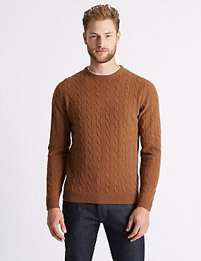 Merino Cable Knit Jumper with Yak, CHESTNUT, catlanding