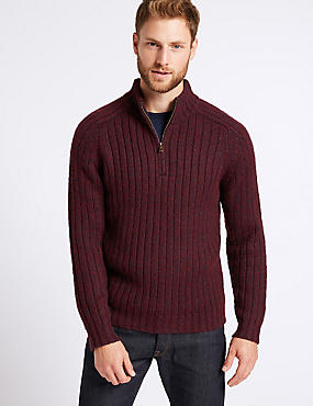 Textured Jumper with Wool, BURGUNDY MIX, catlanding