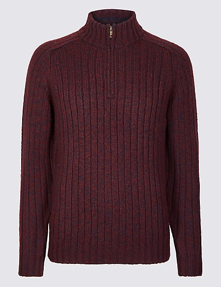 Textured Zip Neck Jumper with Wool