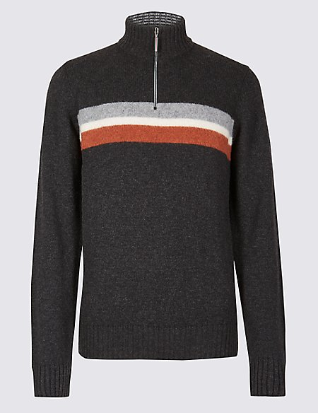 Lambswool Blend Half Zip Striped Jumper