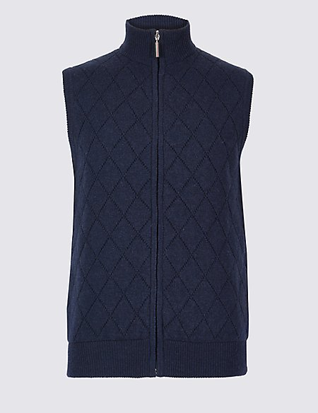 Lambswool Rich Quilted Sleeveless Jumper