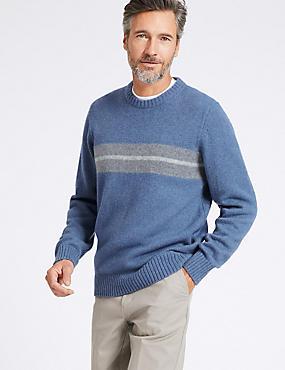 Wool Blend Textured Jumper, BLUE MIX, catlanding