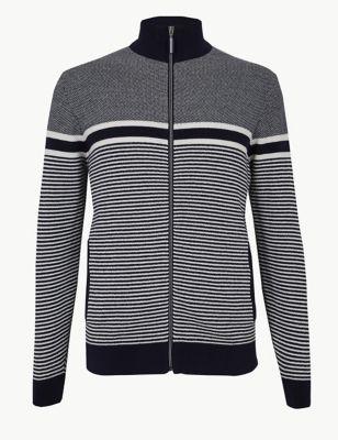d3c1489e5f9 Cotton Rich Striped Zip Through Cardigan £39.50