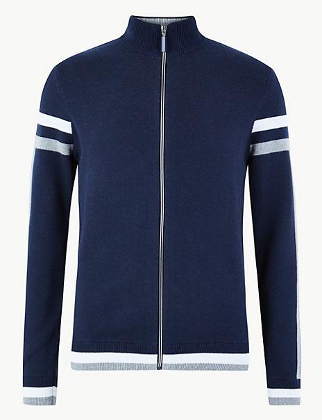 Pure Cotton Zip Through Striped Cardigan