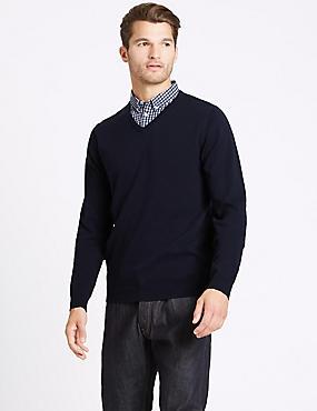 Pure Cotton Checked Mock Shirt Jumper, NAVY, catlanding