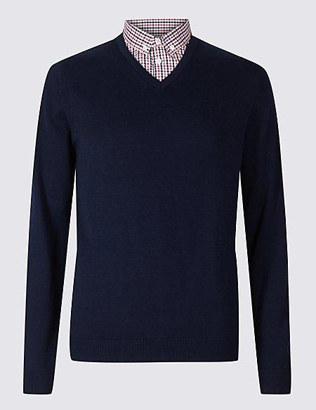 Pure Cotton Mock Shirt Jumper