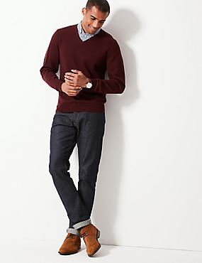 Pure Cotton Mock Shirt Jumper, OXBLOOD, catlanding