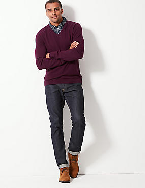 Pure Cotton Mock Shirt Jumper, PURPLE, catlanding