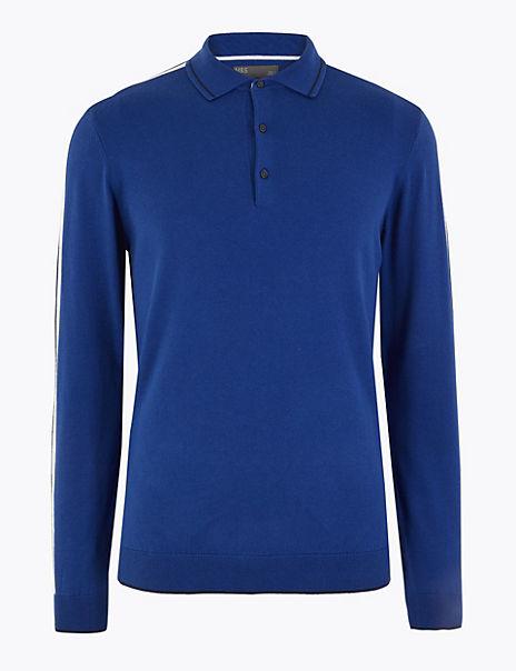 Cotton Rich Arm Stripe Knitted Polo Shirt