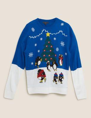 Psycho Penguin Sweater Seasonal Cheer Christmas Jumper Men/'s Burgundy
