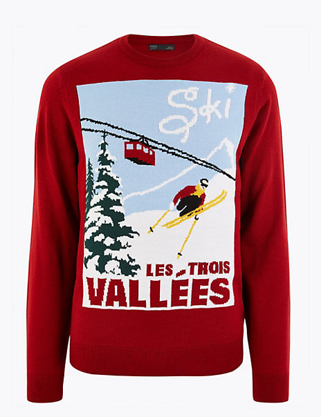 Christmas Ski Poster Design Crew Neck Jumper