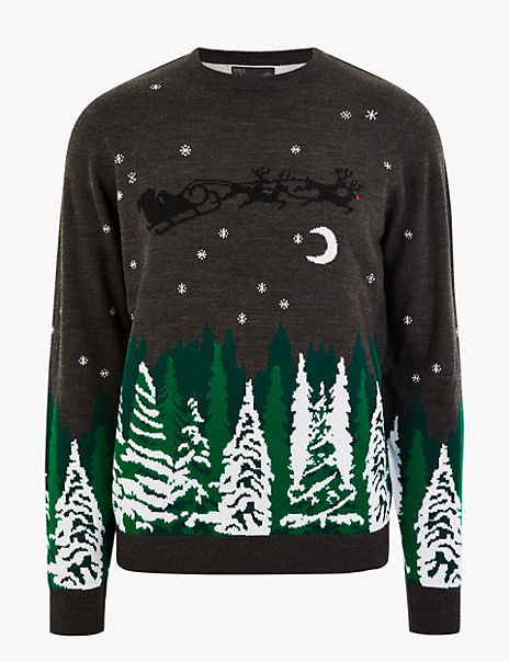 Christmas Forest & Sleigh Design Crew Neck Jumper