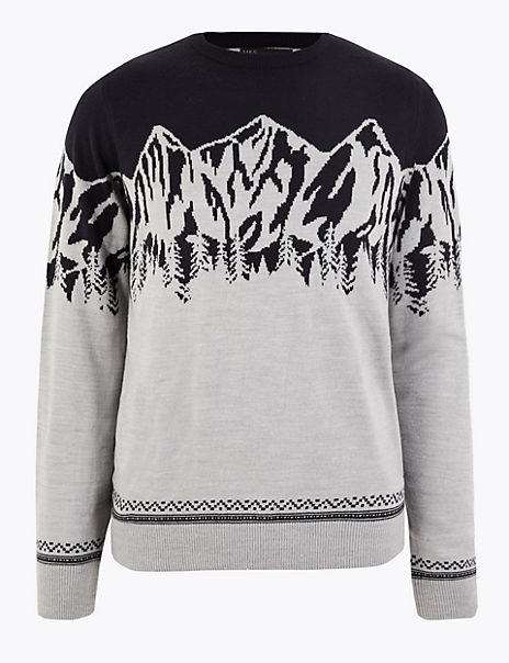 Christmas Mountain Scene Design Crew Neck Jumper