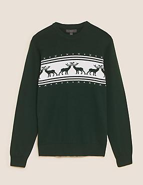 Jersey 100% algodón navideño de renos