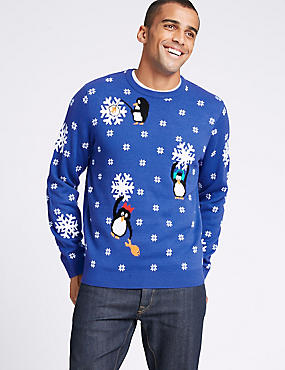 Snowflake Penguin Christmas Jumper with Lights, BLUE MIX, catlanding