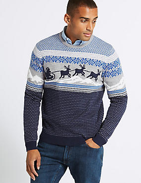 Reindeer Sleigh Fairisle Jumper with Lights, BLUE MIX, catlanding