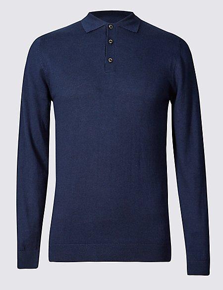 Cotton Blend Polo Shirt