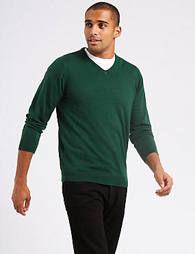 V-Neck Jumper, GREEN, catlanding