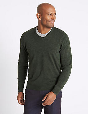 V-Neck Jumper, FOREST GREEN, catlanding