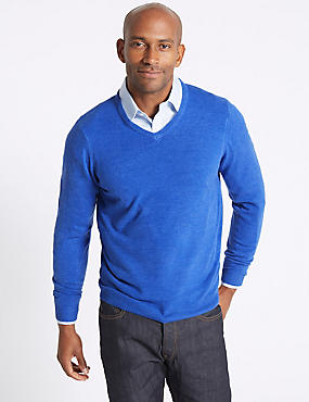 V-Neck Jumper, AZURE BLUE, catlanding