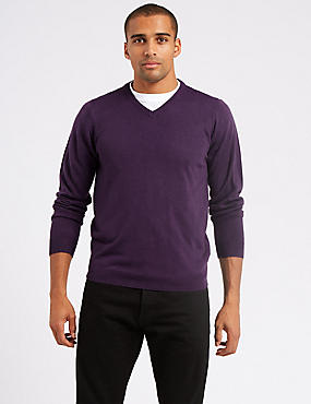 V-Neck Jumper, MEDIUM GRAPE, catlanding