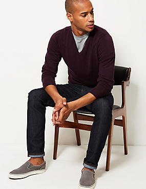 V-Neck Jumper, BURGUNDY, catlanding