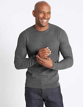 Cotton Blend Textured Jumper, MID GREY, catlanding