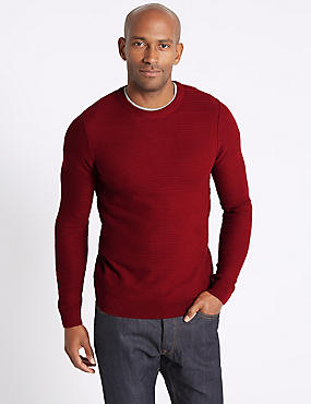 Cotton Blend Textured Jumper, RUBY, catlanding