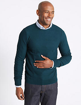 Cotton Blend Textured Jumper, TEAL, catlanding